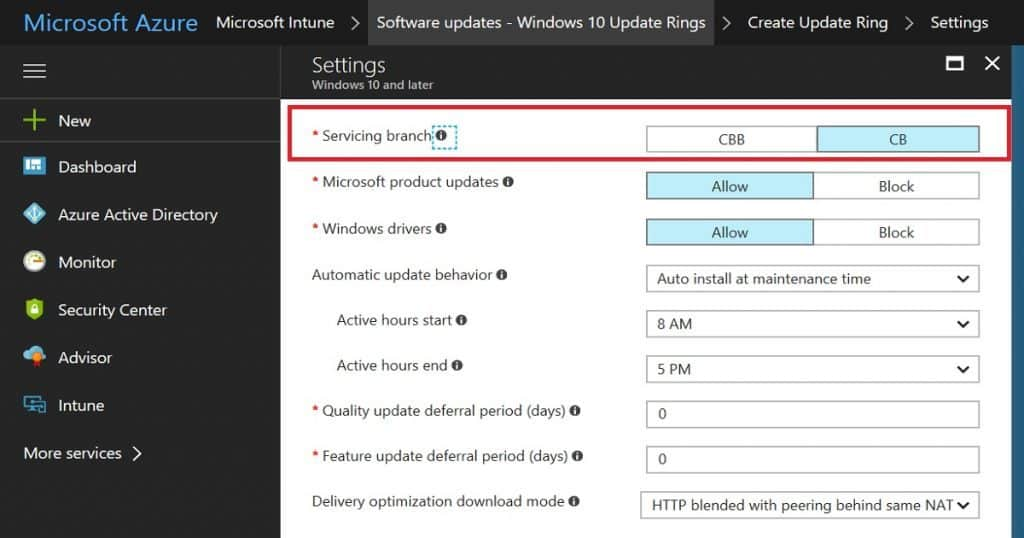 Windows 10 1709 Fall Creators Update with Intune Update Rings