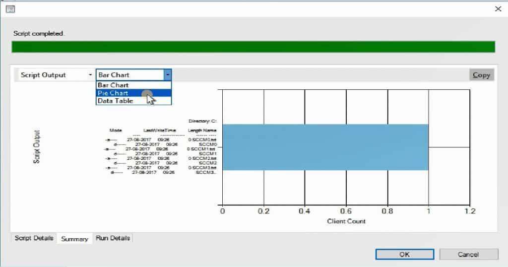 SCCM Run Script - SCCM Run Script Results Configuration Manager ConfigMgr Real-Time Graphical Representation