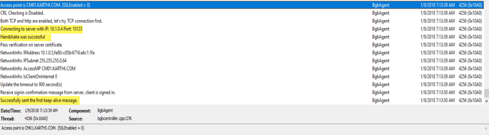 SCCM Client Online Status in SCCM Console Log 4