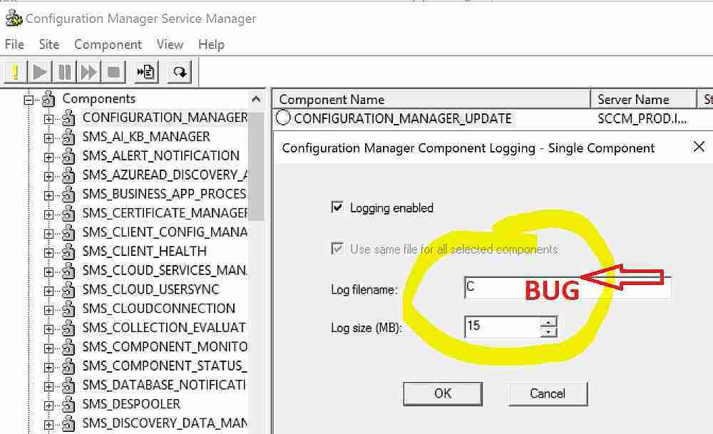 SCCM 1710 Cosmetic Issue with Service Manager GUI