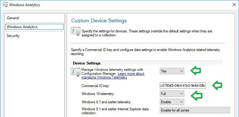 SCCM Windows Analytics custom device settings