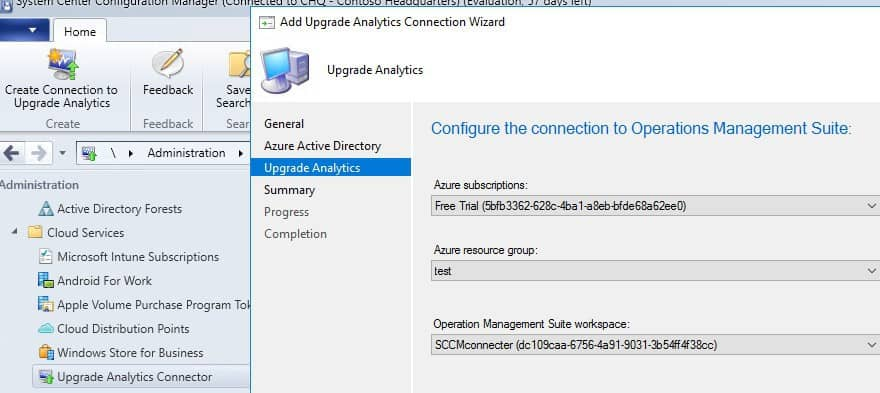 SCCM connection to Upgrade Readiness