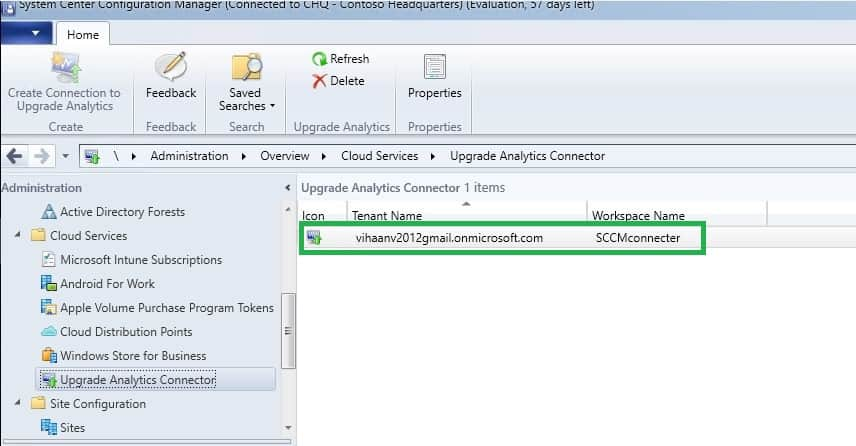 SCCM connection to Upgrade Analytics
