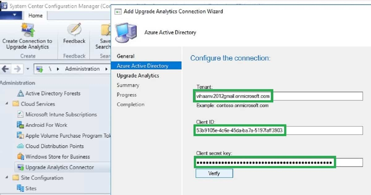 configuration of SCCM connection to Upgrade Analytics