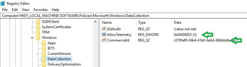 Windows analytics telemetry registry