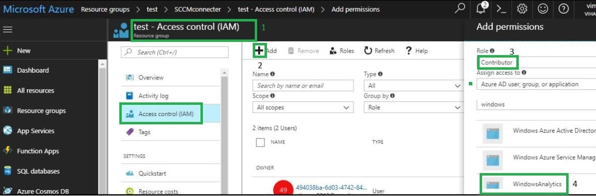 Azure application Access control permission