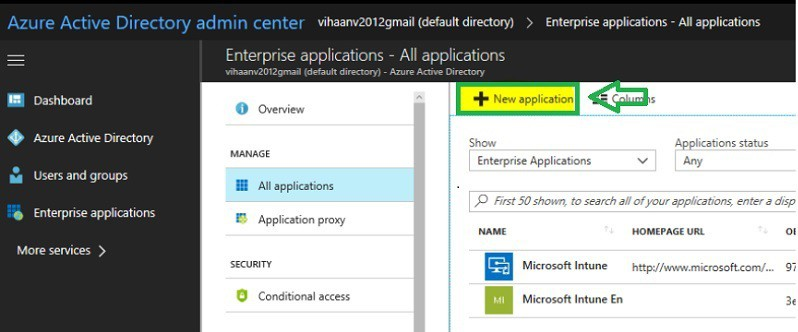 Azure new custom application