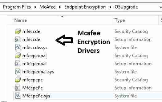 Mcafee encryption drivers Windows 10