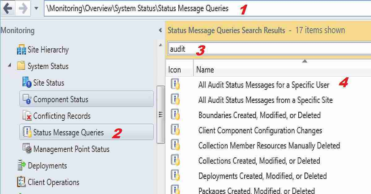 SCCM Audit Status Messages