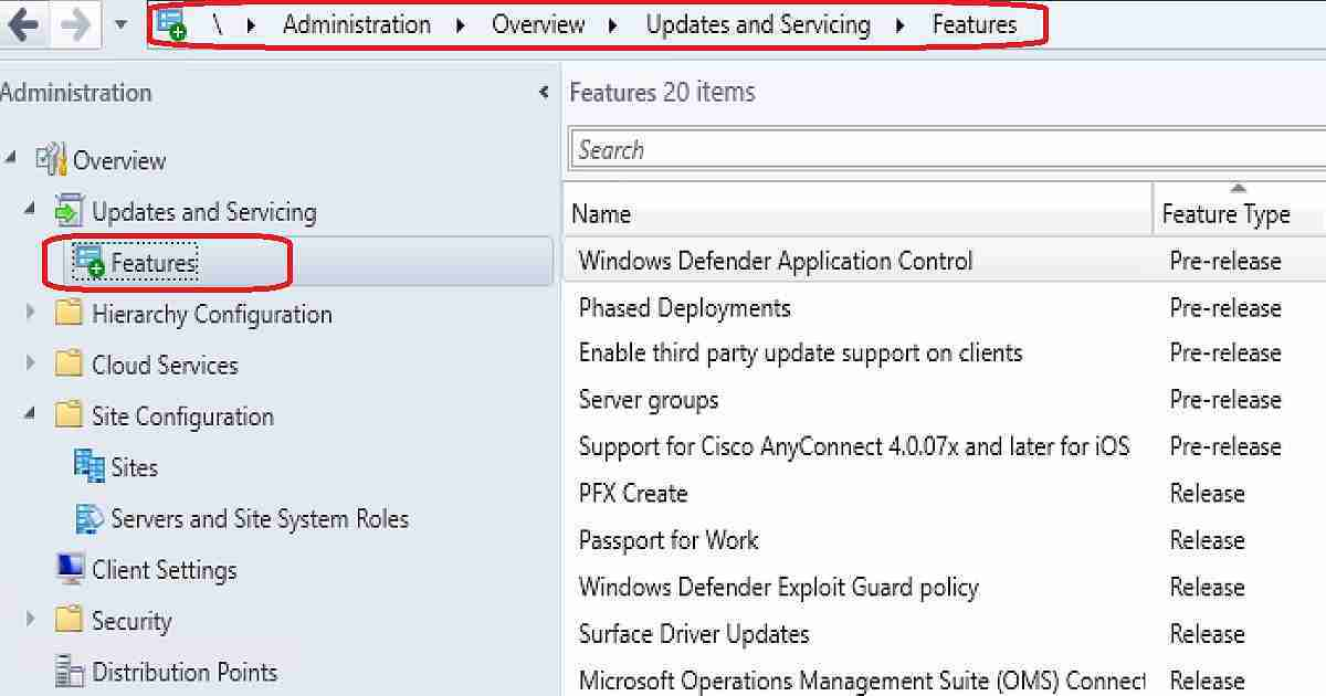 SCCM CB 1802 new features