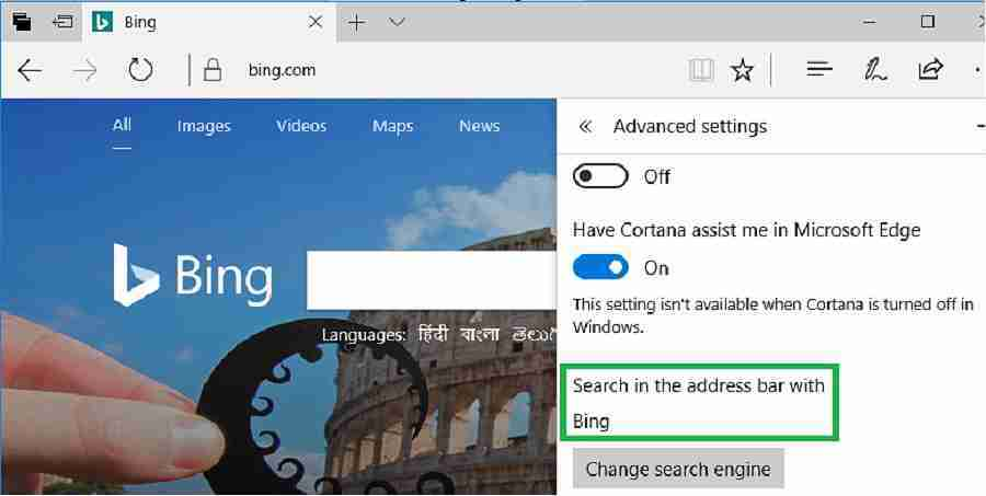 Bing Edge default search engine
