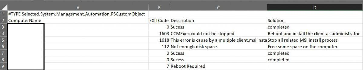 CCMSetup Exit Code Collector