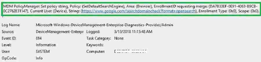 MDM Diagnostics event viewer