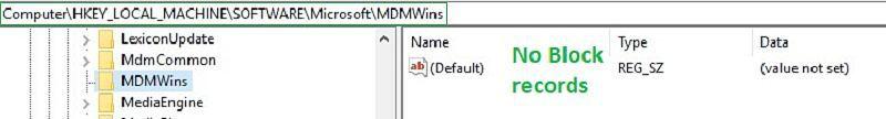 no block record inside MDMWins