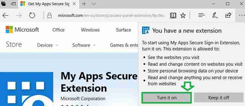 turn on My apps secure extension