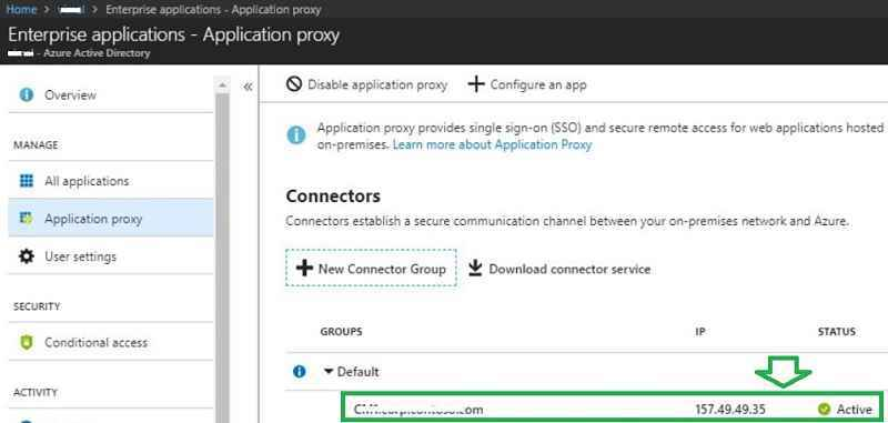 Application proxy azure portal status