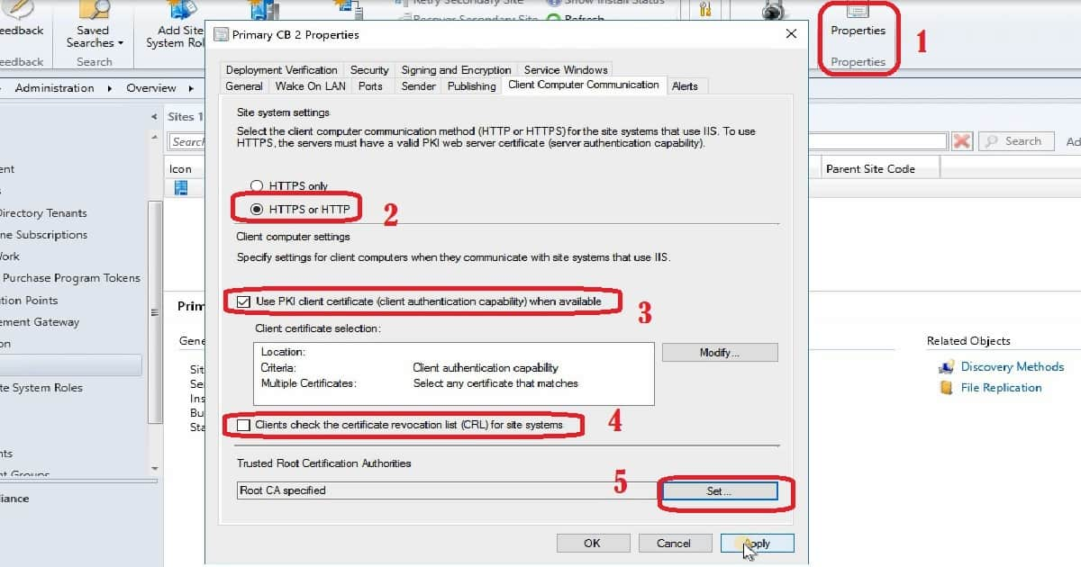 client pki certificates sccm settings computer communication site check anoopcnair tab configure management cas connected secondary