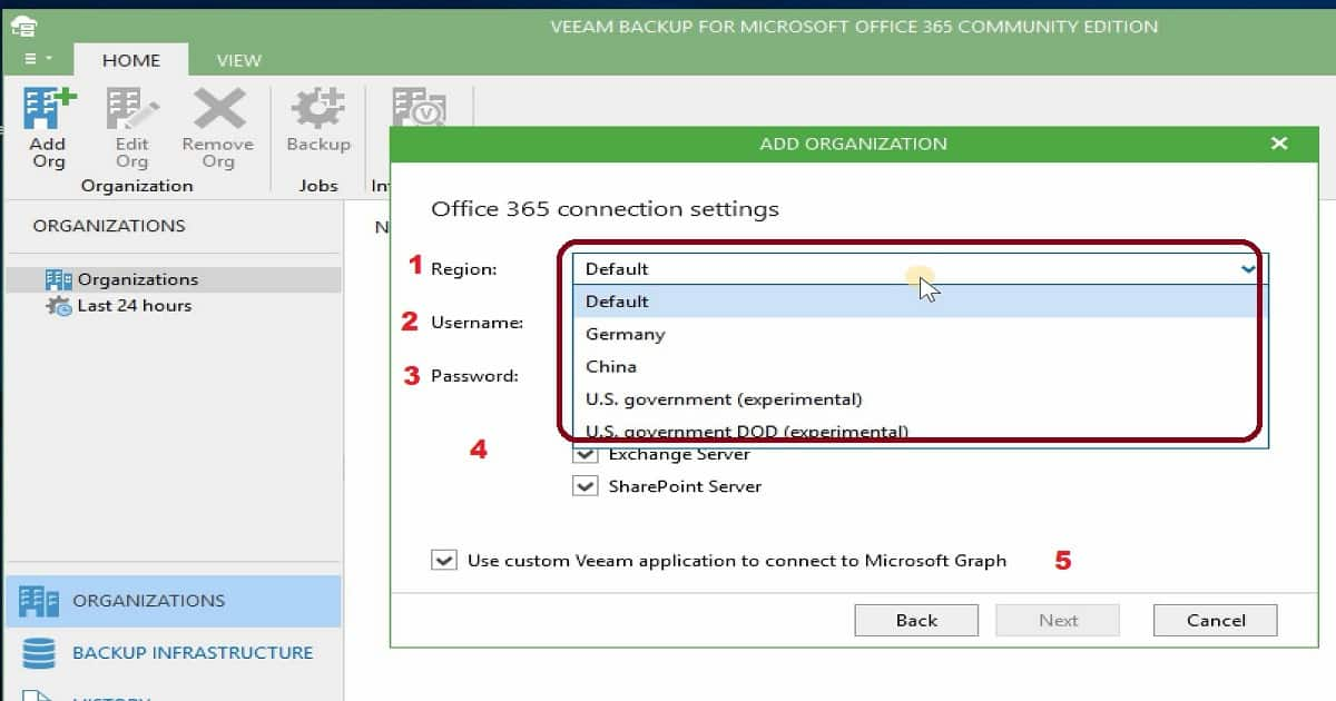 Backup Email OneDrive SharePoint Data with Veeam Backup