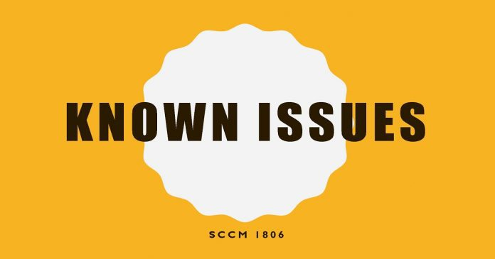 SCCM 1806 Known Issues List by Microsoft | anoopcnair com