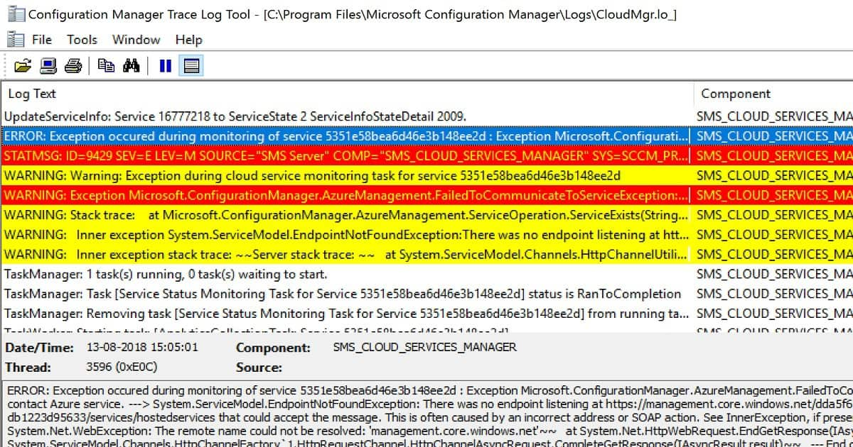 SCCM CMG Connection Analyzer -clouldmgr.log