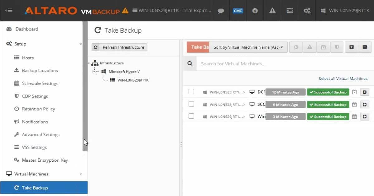 Backup Hyper-V VMs - Altaro VM Backup