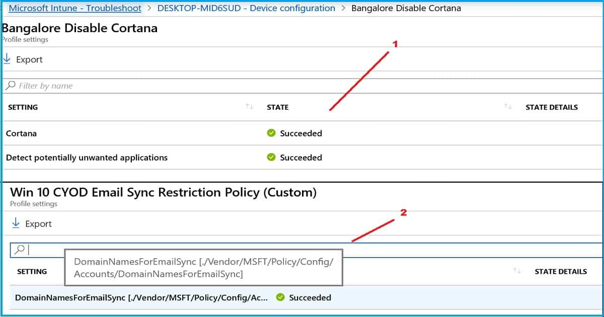 Configuration Profile Settings Intune Device Configuration Profile Per Setting View