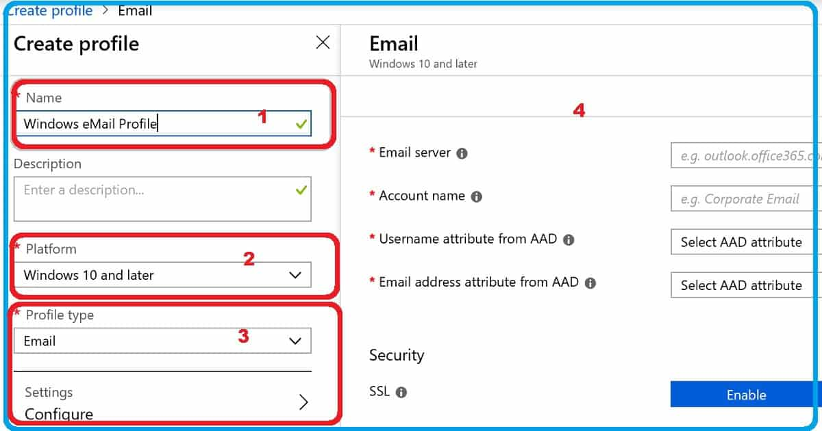 Restrict Personal Email Sync Email Profile via Intune