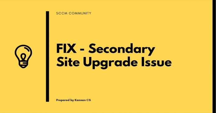 SCCM Secondary Site Upgrade Issue