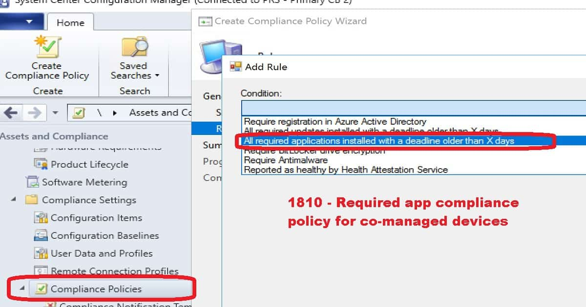 SCCM 1810 Improvements - Required app compliance policy for co-managed devices