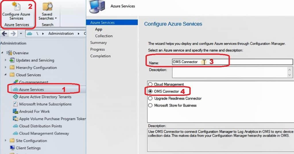 SCCM OMS Connector Configure Azure Services