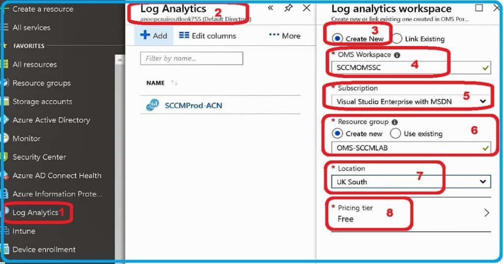 SCCM OMS Connector Log Analytics