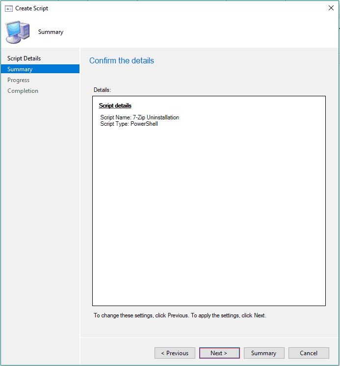SCCM Run Script Deployment Step by Step Guide - Uninstall 7Zip without Package 1