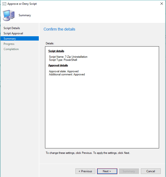 SCCM Run Script Deployment Step by Step Guide - Uninstall 7Zip without Package 5