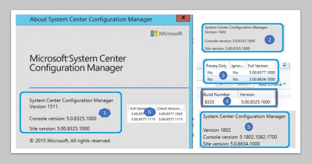 SCCM Version Numbers SCCM Client Versions Numbers