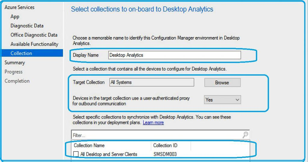 SCCM Desktop Analytics Integration - Collection and Proxy