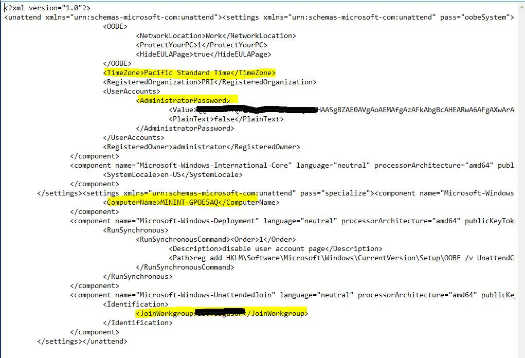 Unattend.XML SCCM OSD