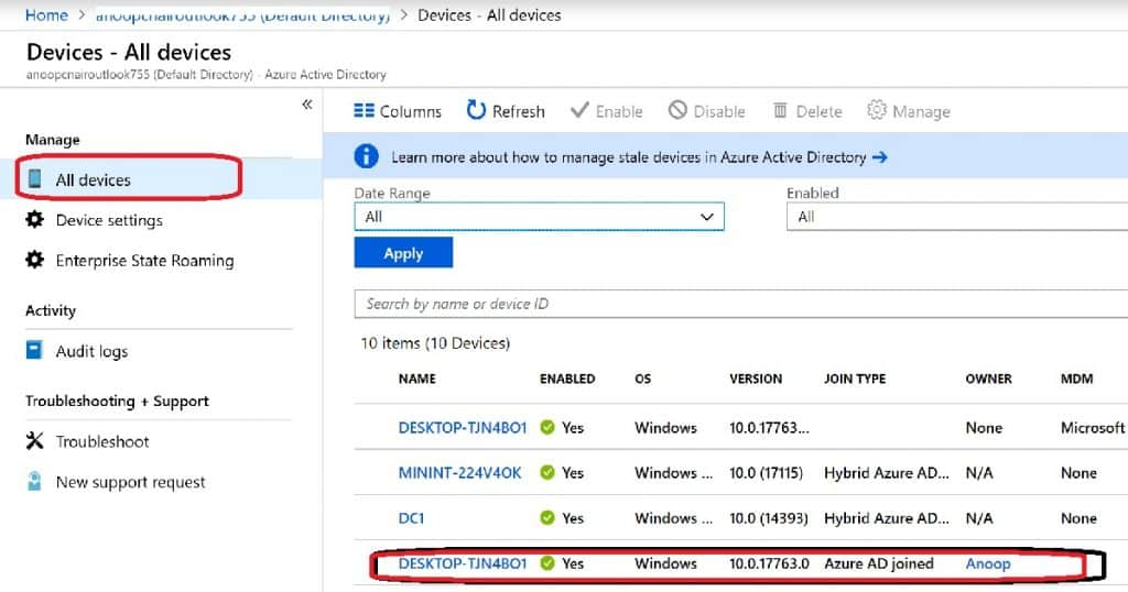 Admin View - Results Windows 10 Azure AD Join - Intune Auto Enrollment
