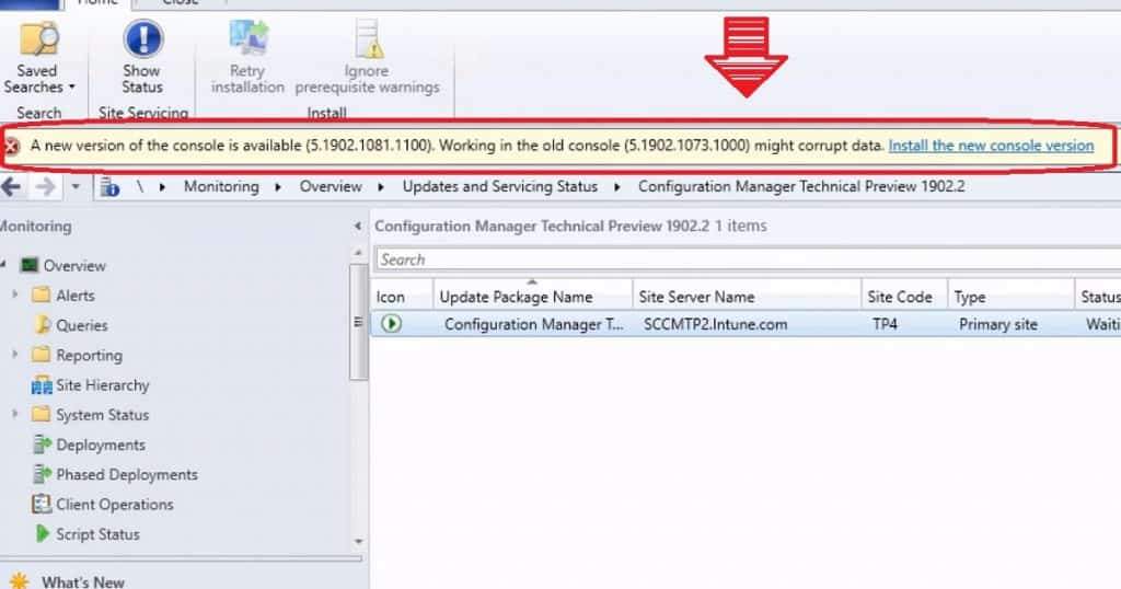 Microsoft SCCM 1902 Console Notification