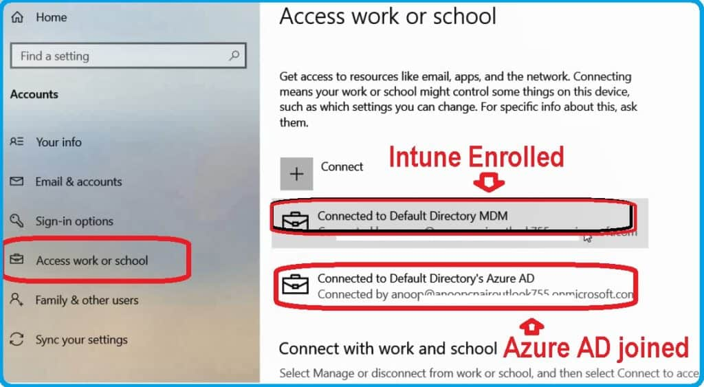Results Windows 10 Azure AD Join - Intune Auto Enrollment