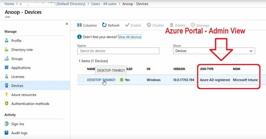 Windows 10 Intune Enrollment - Azure AD Registration - Admin View