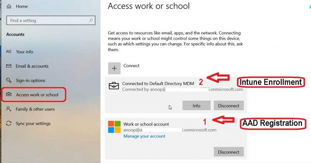 Windows 10 Intune Enrollment - Azure AD Registration BYOD