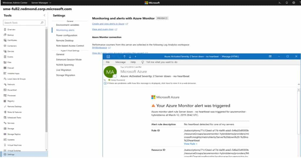 Windows Admin Center with Azure Monitor and Email Alerts 1