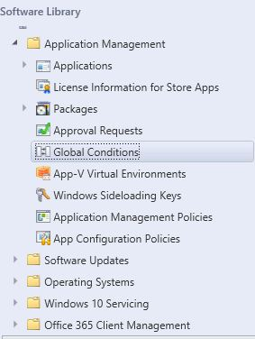 SCCM Global Conditions Node