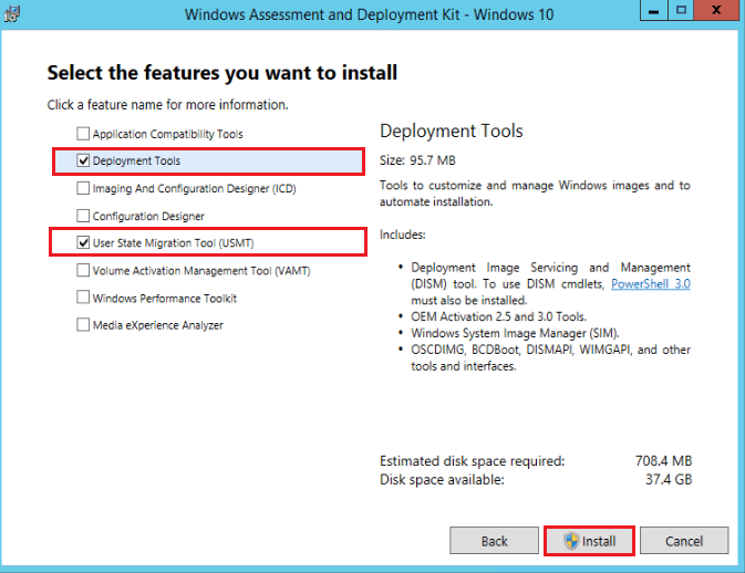 Windows 10 ADK Versions Select the Features you want to install - Upgrade Windows ADK on SCCM Servers