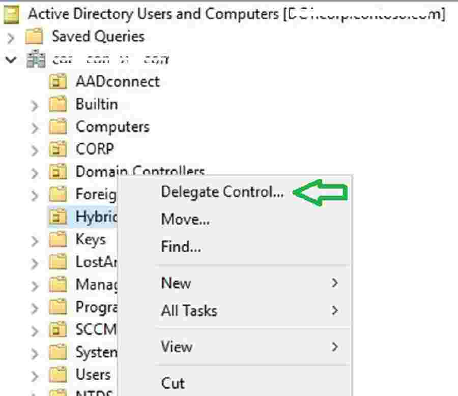 Delegate Control for Intune Connector for Active Directory - Windows Autopilot Hybrid Domain Join Scenario