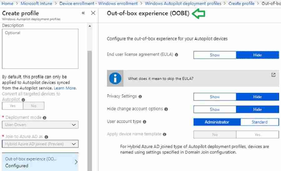 Intune Windows Autopilot Profile Configuration