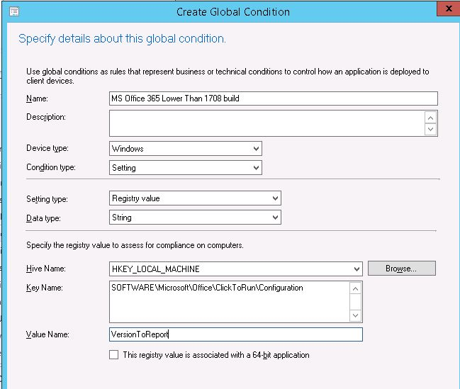 Create SCCM Global Conditions with Registry Values