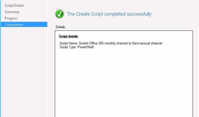 Change Office 365 Update Channel using SCCM Run Script