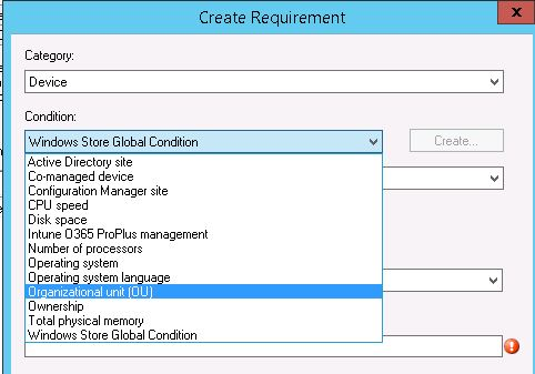 Default SCCM Global Conditions or Requirements options