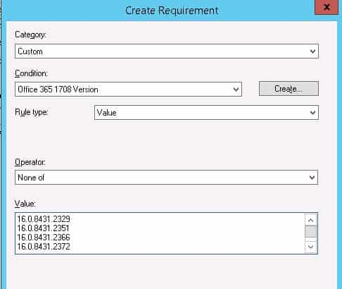 Create or Select Office 365 ProPlus Application Requirements